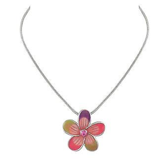 Evig samling Rose Blossom blomst emalje sølv tone anheng