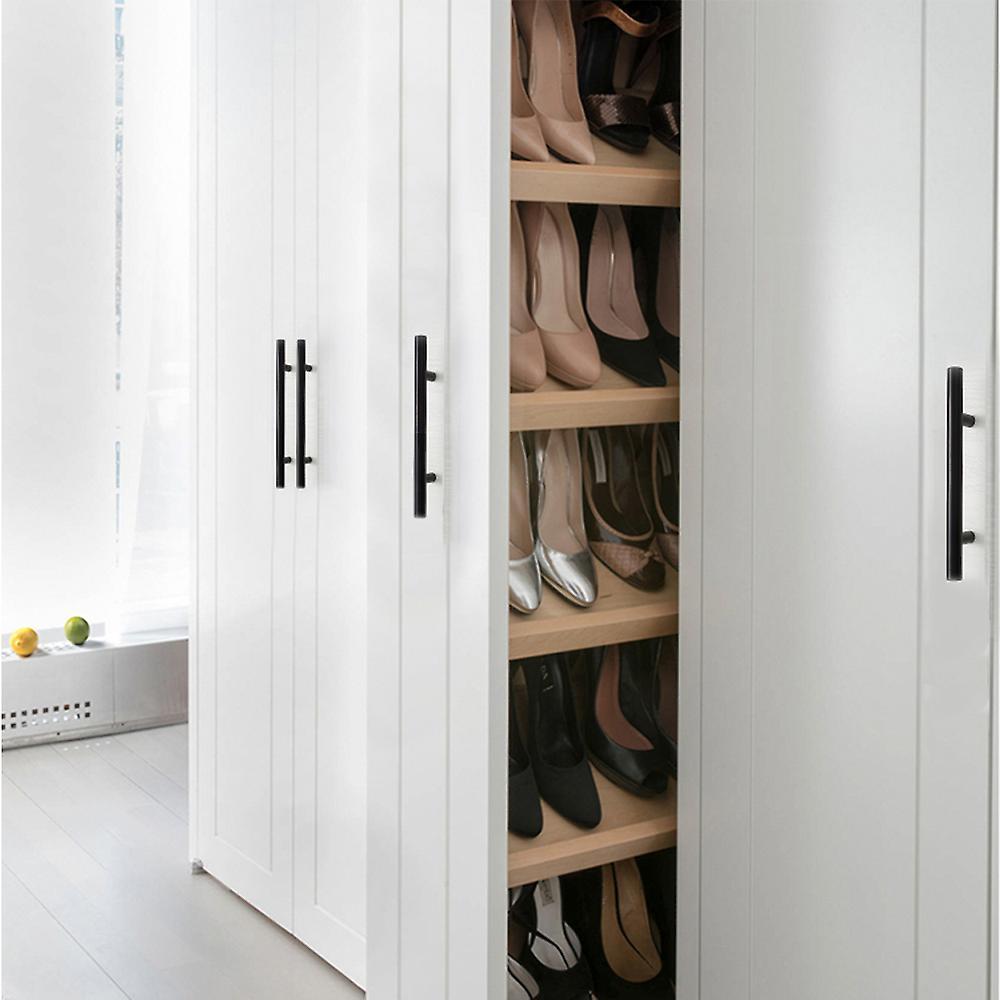 TRIXES 20Pcs Black Steel Door Handles - Kitchen Cabinet Door Drawer 150mm