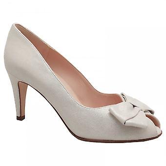 Peter Kaiser Stila White High Heel Peep Toe Court Shoe With Bow