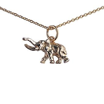 9ct Gold 10x20mm tusker Elephant Pendant with a 1.1mm wide cable Chain 20 inches