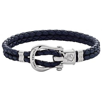 Paul Hewitt Ph-FSH-L-S-N Bracelet - Steel PHINITY SHACKLE Marine Blue Leather Mixed