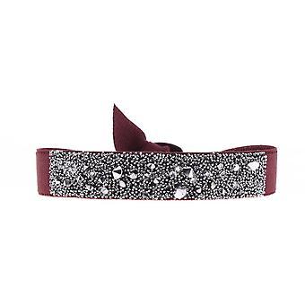 Den udskiftelige A36479 Armbånd - Kvinders Høj kvalitet Krystaller Rødt stof armbånd