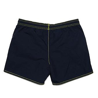 Infant Boys adidas Solid Swim Shorts In Navy- Ribbed Waistband- Pockets To