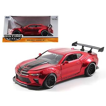 2016 Chevrolet Camaro SS Wide Body with GT Wing Candy Red With Black Stripes 1/24 Diecast Model Car par Jada