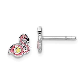 925 Sterling Ezüst Rhodium bevonatú fiúk vagy lányok Zománcozott Flamingo Post fülbevaló - 0,8 gramm