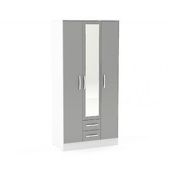 Lynx 3 Tür 2 Schublade W/Spiegel weiß & grau