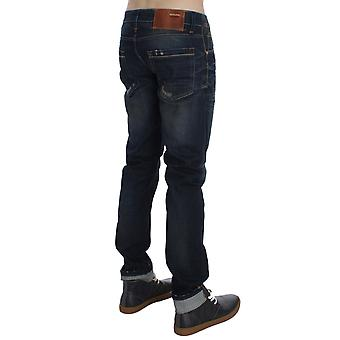 Acht Blue Wash Frayed Effect Cotton Denim Slim Fit Jeans