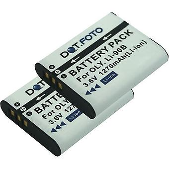 2 x Dot.Foto Olympus LI-90B, LI-92B udskiftningsbatteri - 3.6v / 1270mAh