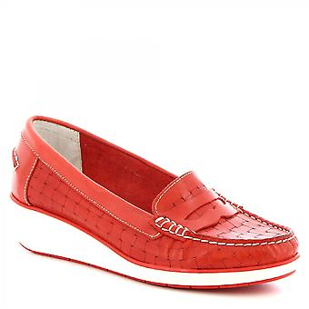 Leonardo Shoes Women's handmade wedges loafers shoes in red woven calf leather
