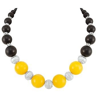 Eternal Collection Sashay Yellow And Black Mountain Jade Statement Beaded Necklace