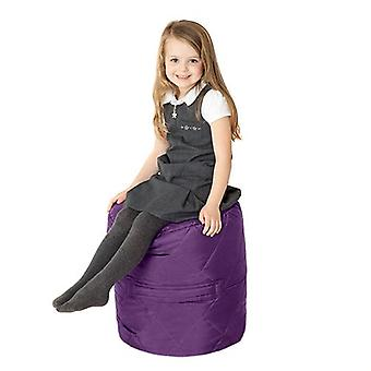 Fun!ture Quilted Round Kids Bean Bag | Outdoor Indoor Living Room Childrens Cylinder Beanbag Seating | Water Resistant | Vibrant Play Kids Colour Seat | High Quality & Comfy (Purple)