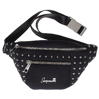 Sourpuss Leda Black and Silver Canvas Studded Waist Pack