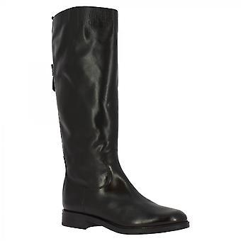 ليوناردو أحذية النساء & أبوس؛s مصنوعة يدويا الركبة عالية الأحذية الجلدية السوداء الرمز البريدي باك باك مشبك