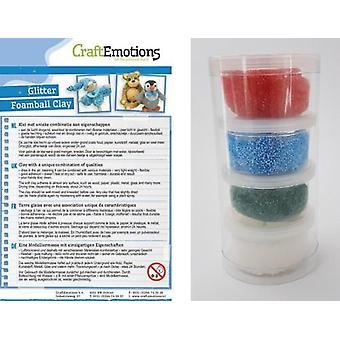 CraftEmotions Foamball clay - Xmas glitter set 4 x 23gr Air dry