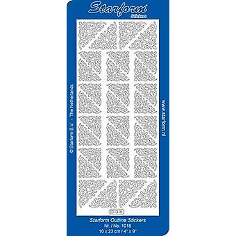 Starform Stickers Corners 6 (10 Sheets) - Silver - 1018.002 - 10X23CM