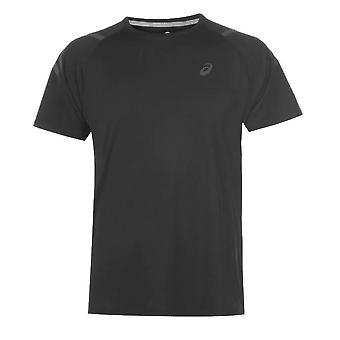 アシックスアイコン半袖メンズランニングフィットネストレーニングTシャツティーブラック