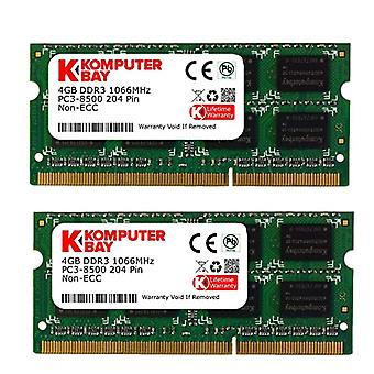 Komputerbay 8GB (2x 4GB) DDR3 SODIMM (204 pin) 1066Mhz PC3 8500 for Apple 8 GB