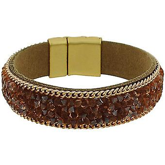 Park Lane Ladies Goldtone Brown Glass Set Fabric Wristband with Magnetic Clasp