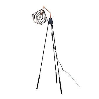 Lámpara de pie de alambre negro de cobre y mate
