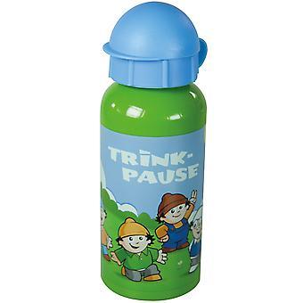 MAINZELMÄNNCHEN Children's aluminium water bottle green blue with 400 ml