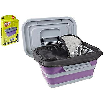 Summit Pop! 18L Folding Collapsible Cool Box Camping Food Container Cooler - Purple / Grey