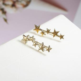 Gold Five Star Studs Ear Climber Earrings