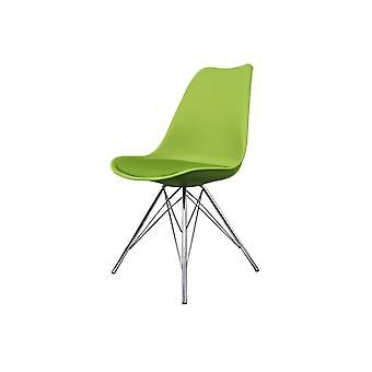 Fusion Living Eiffel Inspiré Green Plastic Dining Chair with Chrome Metal Legs