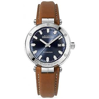 Michel Herbelin | Men's Newport | Brown Leather Strap | Blue Dial 1668/15GO Watch