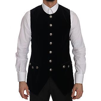 Dolce & Gabbana Black Velvet Slim Fit Formal Vest -- JKT2687728