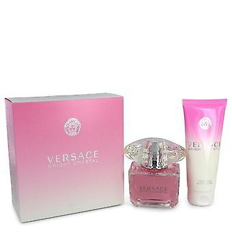 Presente de cristal brilhante conjunto por Versace 3 oz Eau De Toilette Spray + 3,4 oz Loção para o corpo
