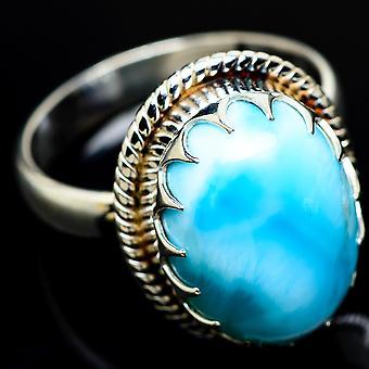 Larimar Ring Size 9 (925 Sterling Silver)  - Handmade Boho Vintage Jewelry RING7954