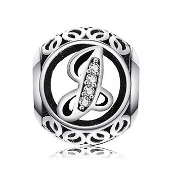 Sterling Silver Charm With Zirconia Stones Letter J - 5185