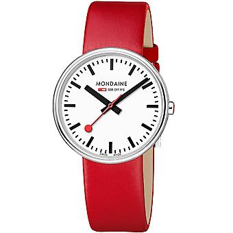 Mondaine Mini Giant Backlight Red Leather Strap Ladies' Watch MSX.3511B.LC 35mm