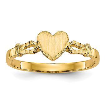 14k Gul Guld Solid Graverbar poleret og satin til drenge eller piger Love Heart Ring Størrelse 4