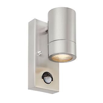 Saxby Lighting Palin PIR Down Wall Light IP44 In Brushed Stainless Steel