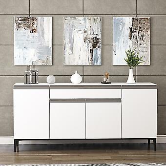 Móvil Multipropóso Sandor Color Blanco, Negro, Gris en Chip Melaminic, Metal, Plástico 160x42x75 cm