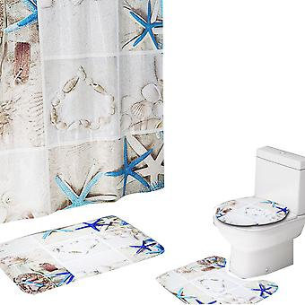 YANGFAN 4 Pc's geruite zeesterren Print Shower Curtain Set