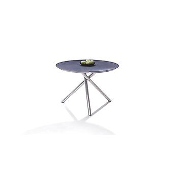 Acier inoxydable Table à manger 110 cm, ronde - HPL anthracite