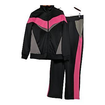 Masseys Set Women's Retro Track Pant and Jacket Black / Pink