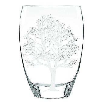 """12"""" Mouth Blown Frosted Crystal European Made Tree Of Life Vase"""