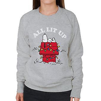 Erdnüsse Weihnachten alle Lit Up Snoopy Frauen's Sweatshirt