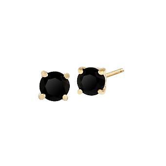 """הקלאסי עגול שחור האוניקס עגילים פתוח ב-9ct צהוב זהב 3.5 מ""""מ 183E0083339"""