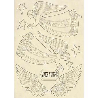 Wooden Shape A5 Angel & Wings (KLSP061)