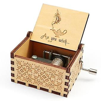 "Aladdin ""a Whole New World"" Theme Wooden Engraved Handmade Music Box"