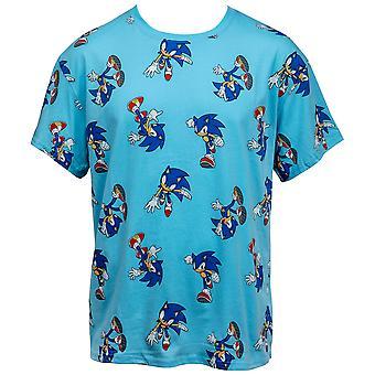 Sonic The Hedgehog All Over Retro Print T-paita