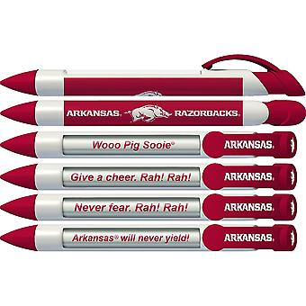 Greeting Pen College Pens- Arkansas Razorbacks Braggin' Droits Rotating Message 6 Pen Set 20505