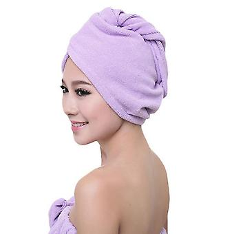 Microfiber Quick Drying Turban Bath Towel - Super Absorbent Women Hair Cap with Button