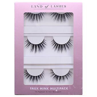 Land of Lashes Faux Mink False Eyelashes Multipack - Flutter Fake Lash - 3 Pairs
