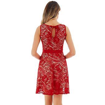 Uniboutique Women's Çiçek Dantel Kolsuz Elastik Bel Pileli Salıncak Elbise Kırmızı XXL