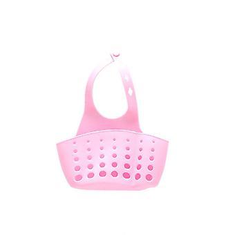 Adjustable Button Ktchen Sink Drain Basket Plastic Pink
